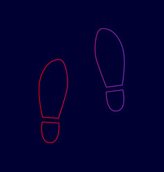 Imprint soles shoes sign line icon with vector