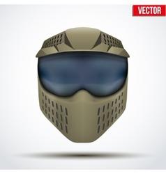 Khaki paintball mask with goggles original design vector