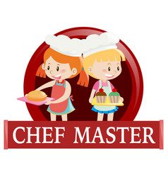 Label with two junior chefs vector