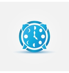 Moon phases alarm clock blue icon vector