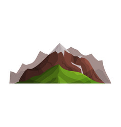 Mountains with glaciers and green hills outdoor vector