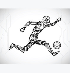 robot playing soccer vector image
