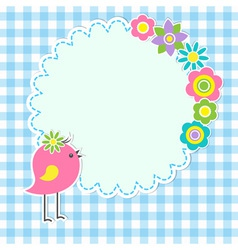 Round frame with cute bird vector image