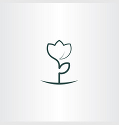 simple flower plant line icon logo vector image vector image
