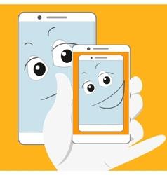 Smiling smartphone taking self-snapshot vector