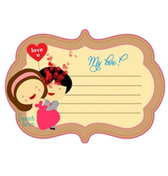 Sweet love valentines about label vector