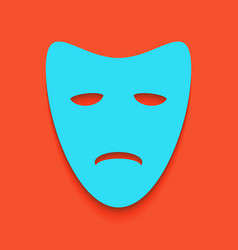 Tragedy theatrical masks whitish icon on vector
