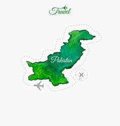 Travel around the world pakistan watercolor map vector