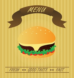 Vintage hamburger fastfood menu vector