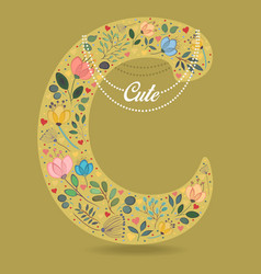 Yellow letter c with floral decor and necklace vector