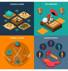 China touristic isometric 2x2 icons set vector
