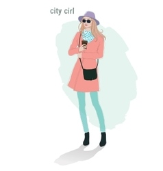 Beautiful young women girl fashion jacket in vector image