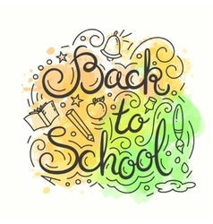 Back to school card watercolor background vector