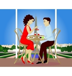 Date in Paris cafe vector image