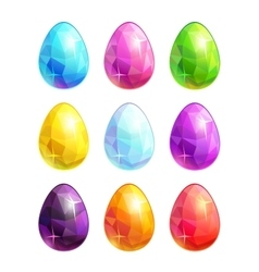 Colorful crystal eggs set vector image