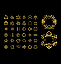Gold circular ornament on black background vector