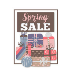 Spring sale special offer different gift boxes vector