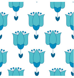 Vivid blue color abstract tulip flower motif vector