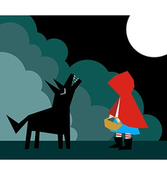 Little Red Riding Hood and the Wolf vector image