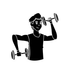 Sport man weight lift fitness active silhouette vector