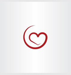 Simple red heart symbol vector