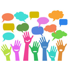 hands with speech bubbles vector image