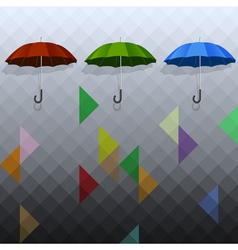 Colored umbrellas on geometric background vector