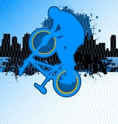 Bmx cyclist template vector on urban grunge backgr vector