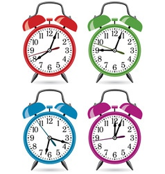 set of colorful retro alarm clocks vector image