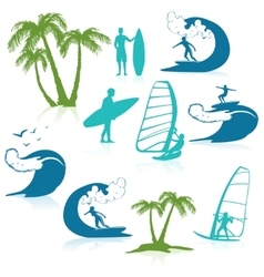 Surfing icons with people vector