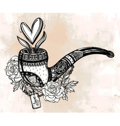 Tobacco pipe with bouquet and heart shaped smoke vector