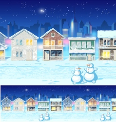 Winter suburb at night vector