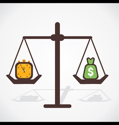 time and money both have equal importance vector image