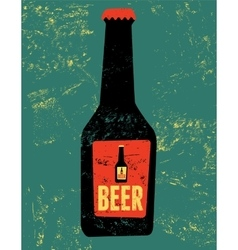Vintage grunge style poster with a beer bottle vector