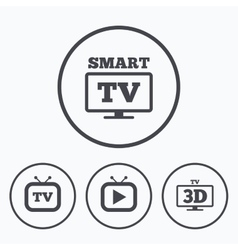 Smart 3d tv mode icon retro television symbol vector