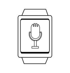 Square watch and microphone icon graphic vector