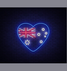 australian flag in the form of a heart neon sign vector image vector image