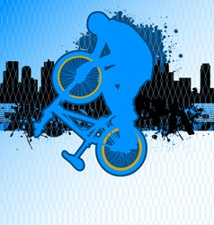 Bmx cyclist template vector on urban grunge backgr vector