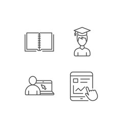 book student and online tutorial icons vector image vector image