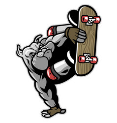 bulldog character playing skateboard vector image vector image