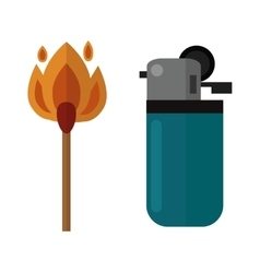 burning matches sticks and lighters vector image vector image