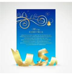 Christmas card with gold ribbon and copy space vector image