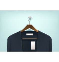 Clothes hanger with cardigan blank tag label vector