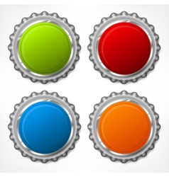 Color bottle cap on white vector