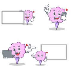 Cotton candy character set with laptop phone board vector