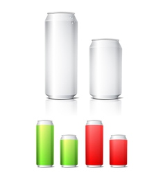 Different colors aluminium cans template vector image