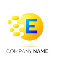 E letter splash yellow dots and circle bubble vector