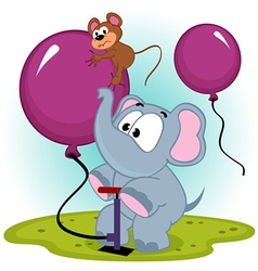 Elephant inflating balloon with mouse vector
