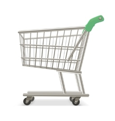 Empty shopping supermarket cart business retail vector