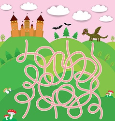 Fairy-tale castle dragon bats forest labyrinth vector